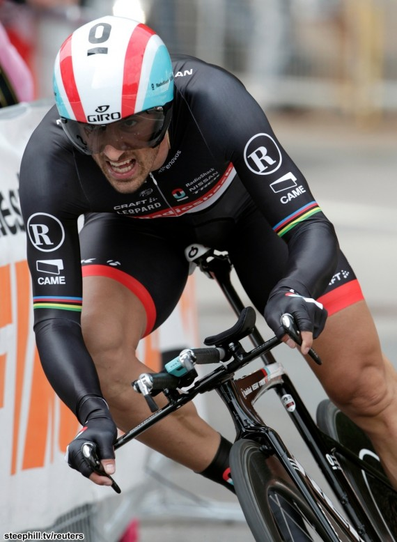 Radioshack's team rider Cancellara of Switzerland cycles to finish second at the prologue of the Tour de Suisse cycling race in Lugano