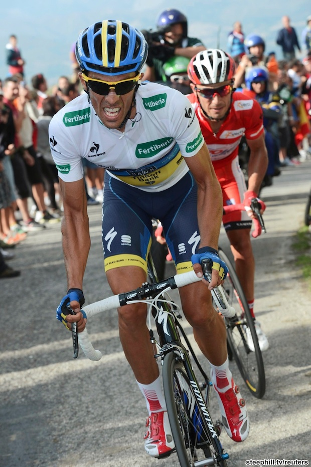 "Katusha Team's Rodriguez and Team Saxo Bank's Contador during the 15th stage of the Tour of Spain ""La Vuelta"" cycling race"