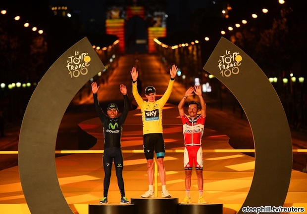 Team Sky rider Tour de France winner Froome of Britain celebrates his overall victory ahead of Movistar team rider Quintana of Colombia and Katuska team rider Rodriguez of Spain on the podium after final stage from Versailles to Paris Champs Elysees