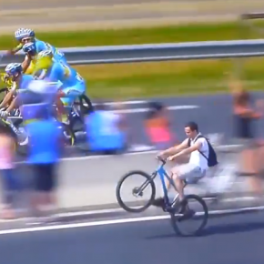 "Vídeo: Espectador mandando a ""Empinada"" na final no Tour de France 2014"