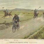 Um cartaz pré-guerra mostrando um ciclistas andando ao lado de Dragões PrussianosImagens: Joe Robinson