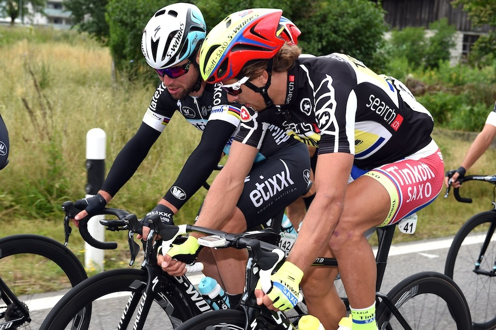 Peter Sagan and Mark Cavendish on stage six of the 2015 Tour de Suisse