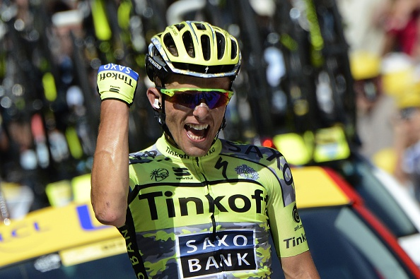 Poland's Rafal Majka celebrates as he crosses the finish line at the end of the 188 km eleventh stage of the 102nd edition of the Tour de France cycling race on July 15, 2015, between Pau and Cauterets, southwestern France.  AFP PHOTO / JEFF PACHOUD        (Photo credit should read JEFF PACHOUD/AFP/Getty Images)