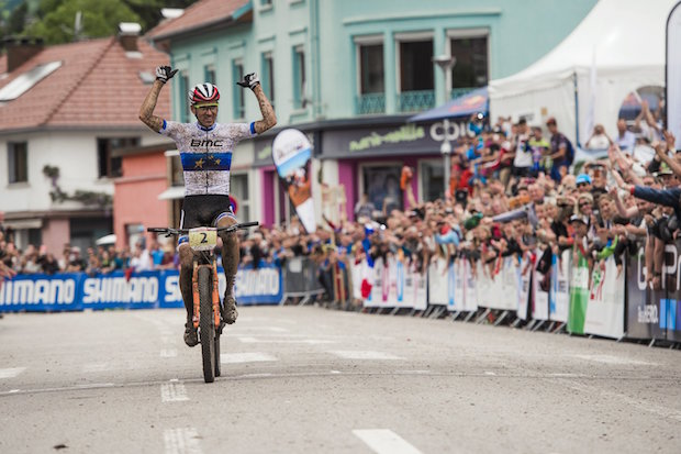 Julien Absalon performs at the UCI XCO World Tour in La Bresse, France on May 29th, 2016 // Bartek Wolinski/Red Bull Content Pool // P-20160529-02015 // Usage for editorial use only // Please go to www.redbullcontentpool.com for further information. //