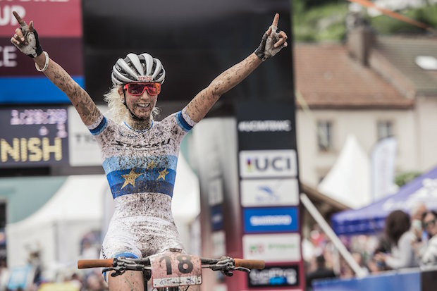 Jolanda Neff performs at the UCI XCO World Tour in La Bresse, France on May 29th, 2016 // Bartek Wolinski/Red Bull Content Pool // P-20160529-01964 // Usage for editorial use only // Please go to www.redbullcontentpool.com for further information. //