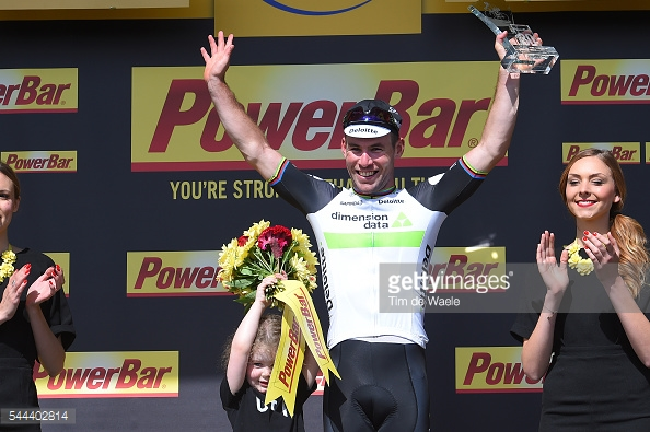 Cycling: 103th Tour de France 2016 / Stage 1 Podium / Mark CAVENDISH (GBR)/ Delilah Grace CANVENDISH (GBR) Daughter / Celebration /  Mont-Saint-Michel - Utah Beach Sainte-Marie-Du-Mont (188km)/  TDF / © Tim De Waele