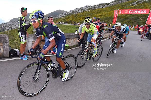 Cycling: 71st Tour of Spain 2016 / Stage 10 Nairo QUINTANA (COL)/ Alberto CONTADOR (ESP)/Omar FRAILE MATARRANZ (ESP)/  Lugones - Lagos de Covadonga 1110m (188,7km)/  La Vuelta / © Tim De Waele