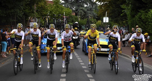 Paris Champs-…lysées - France - wielrennen - cycling - cyclisme - radsport - THOMAS Geraint (GBR) of Team SKY & FROOME Chris (GBR) of Team SKY, BERNAL GOMEZ Egan Arley (COL) of Team SKY, CASTROVIEJO Jonathan (ESP) of Team SKY, KWIATKOWSKI Michal (POL) of Team SKY, POELS Wout (NED) of Team SKY, ROWE Luke (GBR) of Team SKY pictured during the 105th Tour de France - stage - 21 from Houilles to Paris Champs-…lysées - 115KM - photo VK/PN/Cor Vos © 2018